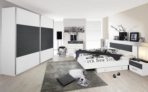 Chambre adulte design coloris blanc/gris Barcelone