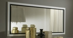Miroir rectangulaire design laqué blanc et noir Adriana