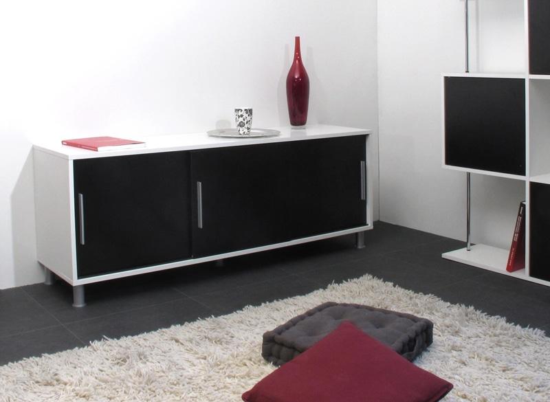 Buffet/bahut bas contemporain 3 portes blanc/noir Kendo