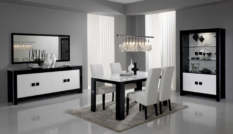 Salle à manger design complète laquée noire et blanche Dali II
