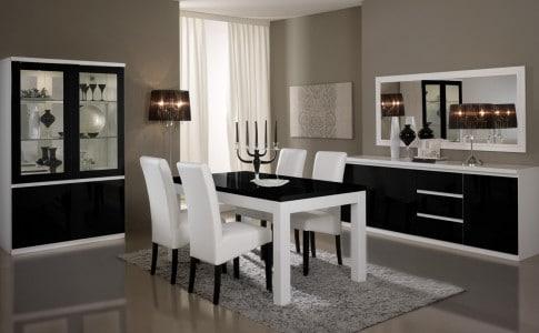 Salle à manger design laquée blanche et noire Loana