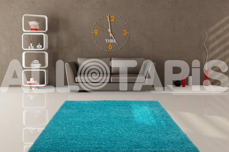 Tapis de salon uni en polypropylène bleu clair Hollywood