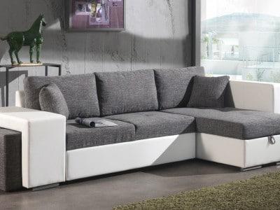 Canapé d'angle convertible avec pouf en tissu gris/PU blanc Yanis