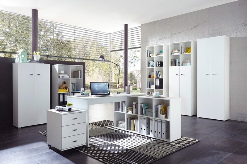 Ensemble de bureau contemporain coloris blanc Monty II