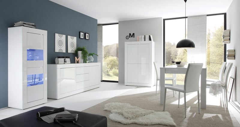 Salle à manger design coloris blanc Agathe