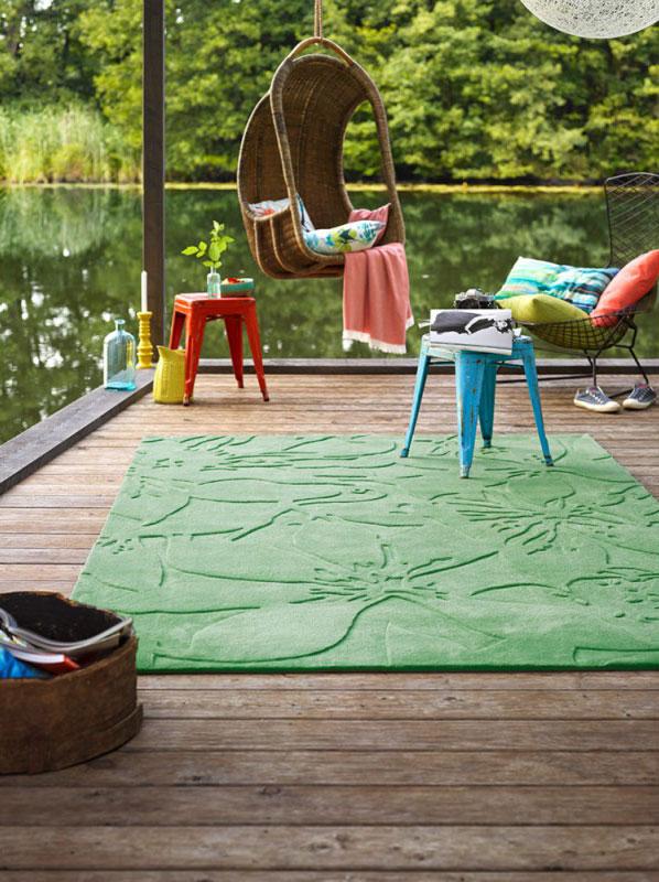 Tapis avec effet 3D floral uni vert Lily Esprit Home