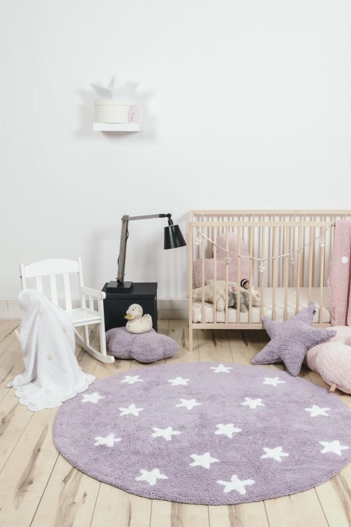 Tapis rond pour enfant rose Cielo Lorena Canals