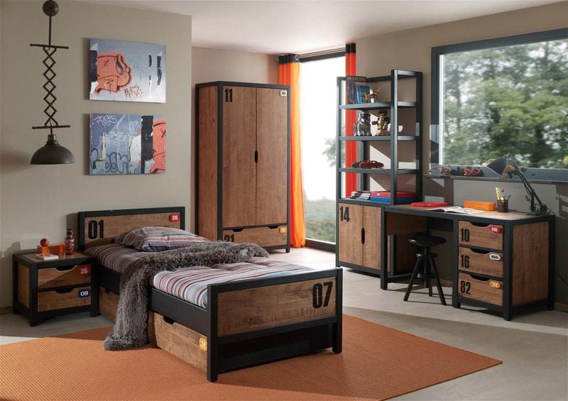 chambre-enfant-contemporaine-en-pin-massif-et-m_tal-coloris-miel-dor_-noir-iberis-ii_2