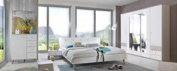 chambre adulte contemporaine blanche chêne portorico