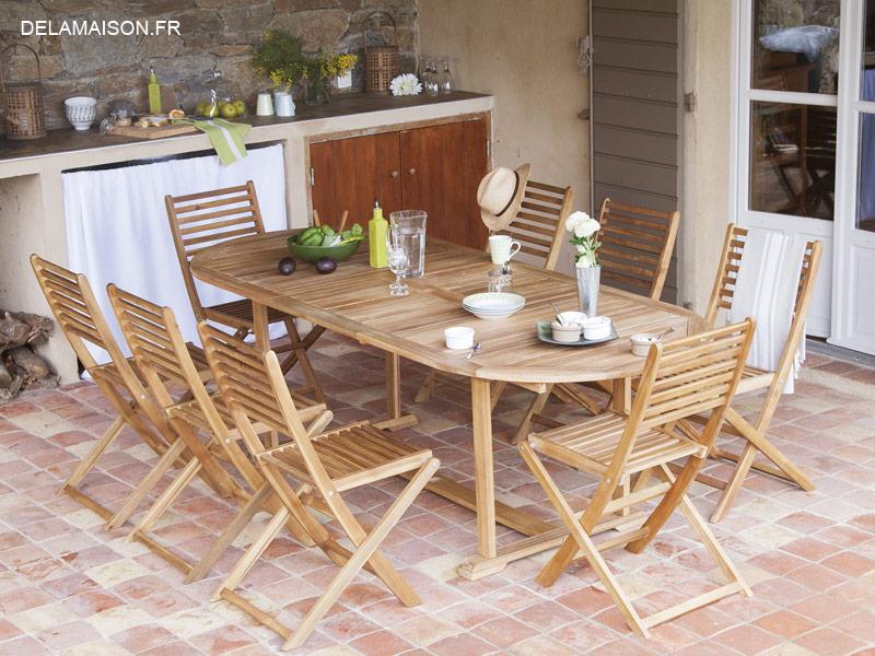 table et chaises en teck pour le jardin