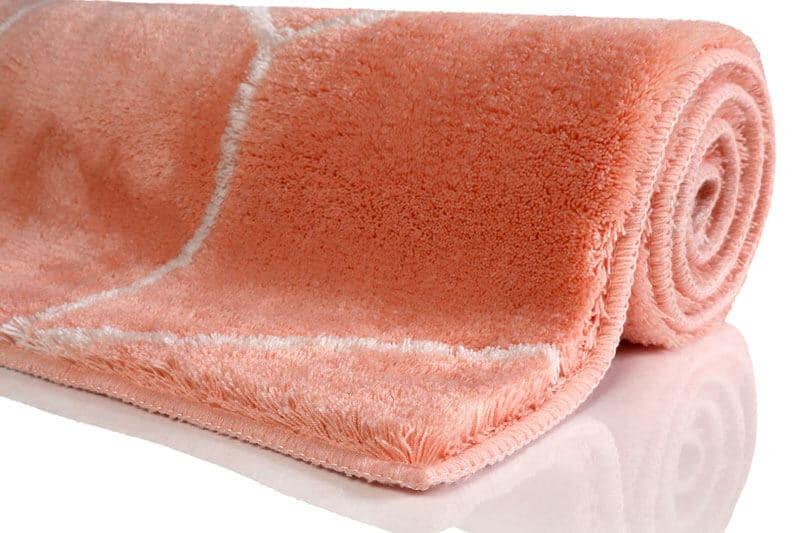 tapis de bain orange géométrique