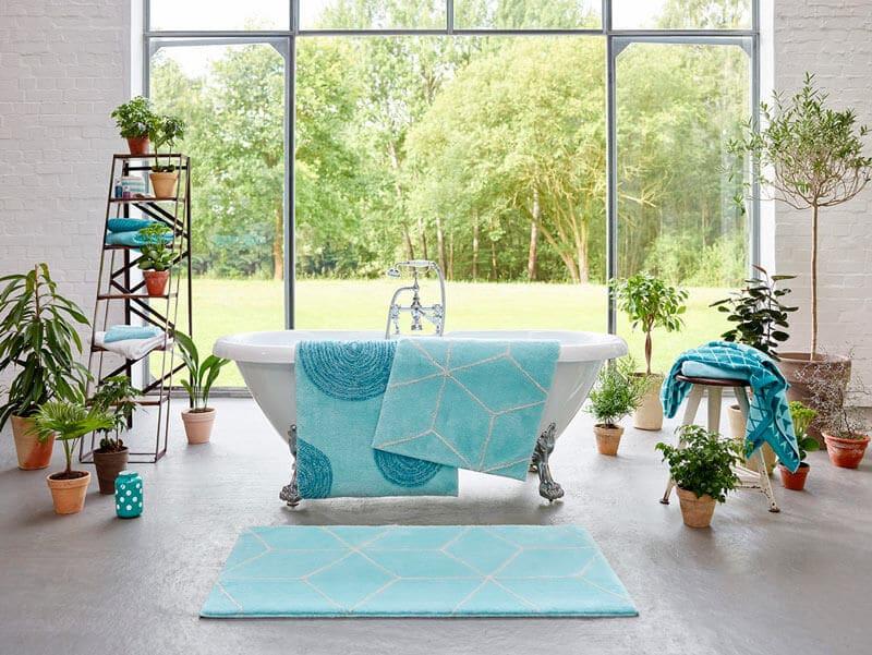 tapis de bain turquoise